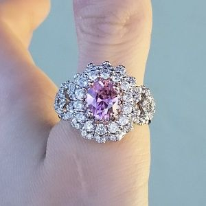 Jewelry - 🆕️S925- Pink&White Sapphire Cocktail Ring Sz 10